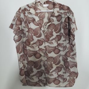 3/25$ TanJay short pleated sleeve , flower pater